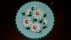 Gránit porcelán falitányér, dísztál, dísztányér margaréta mintás