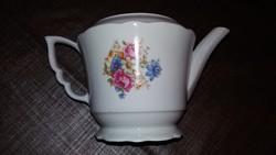 Zsolnay teás kanna virágos