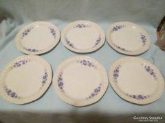 6 db szögletes  mintás süteményes tányér
