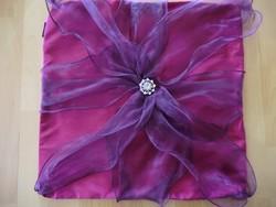 Különleges tüllel kombinált selyem lila párnahuzat  42x42cm LLB's márka