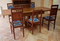 Szecessziós étkező asztal 6db székkel