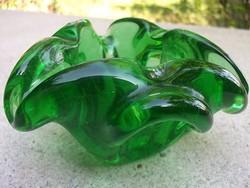 Bohémia-smaragdzöld dísztál-kínálótál cseh üvegművészet remek db-ja