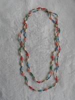 Régi színes hosszú nyaklánc,  145 cm
