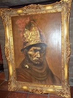 VALÓDI FESTMÉNY: Rembrandt, Az aranysisakos férfi c. OLAJFESTMÉNY, az EREDETI ALAPJÁN