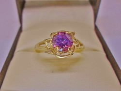 Ritka színben valódi  1ct  Moissanite gyémántos aranygyűrű