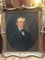"""AEH.1871. """" Férfi porté"""" 55x69 cm , olaj, vászon, patinás blondel keretben."""