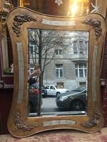 50x70 cm  (külméret: 78x100 cm) aranyozott, koptatott, szép patinás tükörkeret, csiszolt tükörrel