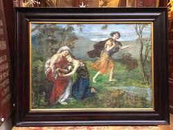 """Knoppné Curtis Gertrude 68x90 cm olaj, vászon, restaurált festmény, restaurált kerettel """"Vígasz"""""""
