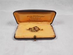 Szecessziós 585 14 karátos arany medál apró gyönggyel eredeti dobozában 1895