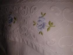 Hófehér hímzett régi dunnahuzat ágynemű, takaró huzat