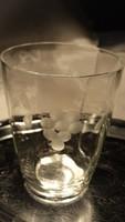 Antik, csiszolt üveg pohár + butélia
