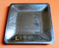 Kézműves fém tálca, jelzett 24 x 24 cm