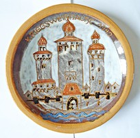Kriegsweinacht 1942 Hadi karácsony, jelzett fali kerámia tányér