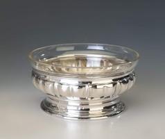 Ezüst art deco üveges kínálótál