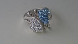 Ezüst gyűrű kék fehér szivecske díszítéssel 925