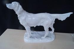 Herendi fehér kutya szobor