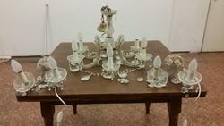 Antik 6 ágú strassz üveg csillár 2 falikarral eladó!
