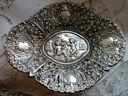 Angyalkás ezüstözött  kínáló