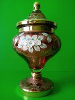 Antik Bohémia fedeles aranyozott plasztikus virágokkal díszített  üveg kehely bonbonier