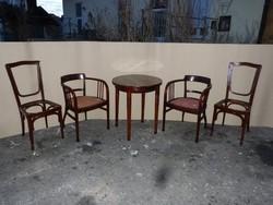 Thonet és J.&J. Kohn szék, asztal.