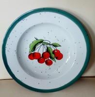 Vidám  élénk színű német Rösler fajansz tányér, tál, asztalközép, 22,5 cm az átmérője