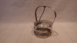Ezüstözött mechanikus szerkezettel üveges cukortartó régiség