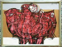 """XANTUS GYULA """"PALÁSTPRÓBA"""" 1986 (60X80) FESTMÉNY EREDETI"""
