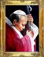 II.János Pál Pápa PORTÉ, VALÓDI OLAJFESTMÉNY, LUXUS ARANY KERETBE FOGLALT FESTMÉNY, 83x63 cm