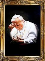 II.János Pál Pápa PORTRÉ, VALÓDI OLAJFESTMÉNY, LUXUS ARANY KERETBE FOGLALT FESTMÉNY, 83x63 cm