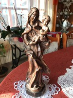 Mária a kis Jézussal /egyházi/ kézzel faragott fa szobor
