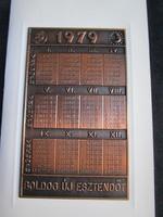 MAGYAR ÉREMGYŰJTŐK EGYESÜLETE 10 éves JUBILEUMI BRONZ 1979 NAPTÁR JELZETT PLAKETT DOMBORMŰ