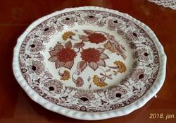 """Antik, angol , Adams kerámia, majolika tányér """"Cornwall"""" mintával, 21 cm az átmérője, hibátlan"""