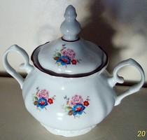 Porcelán cukor tartó, bonbonier, román gyártmány, 8 cm magas tető nélkül, 13 tetővel