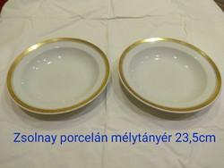 Zsolnay porcelán mélytányér 2db; 23,5cm