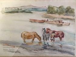 Apáti-Abkarovics Béla: Lóitatás akvarell festmény