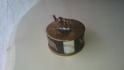 Gyönyörű gyöngyházberakással és kis elefántal díszített szelence gyógyszeres dobozka