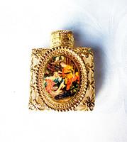 Régi tűzaranyozott zsánerjelenetes parfümös üveg