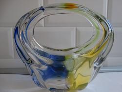 Hatalmas színes üvegkosár, díszüveg