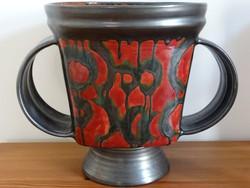 Képcsarnokos kerámia váza, kaspó, díszváza, hatalmas!