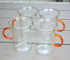 Üveg teás pohár, bögre, vizes, üdítős is, színes füllel