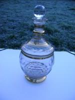 Antik 14 k aranyozott biedermelyer likőrös palack (Moser-Lalique) minőség
