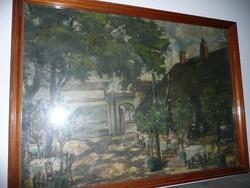 Antik tabáni életkép egy vendéglő udvarán az 1800-as években. Olaj-vászon festmény 70*52 cm