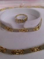 14 K Arany nyaklánc,karlánc,gyűrű garnitúra,Új