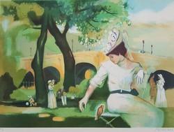 Francia művész: Lány kismadárral