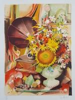 Francia művész: Csendélet gramofonnal