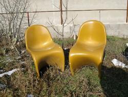 Retro design szék pár a 70-es évekből, okkersárga, 2 db!