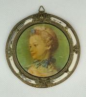 0P205 Régi kisméretű fém keretes női portré 10 cm