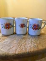 3 db antik, régi, ritka szép Zsolnay pipacsos bögre, csésze