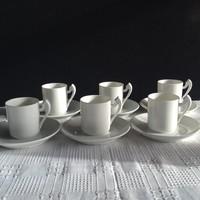 6 db fehér Herendi mokkás csésze+6 db csésze alj