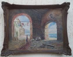 Szvetenay György Báró csodaszép akvarellje A francia riviéráról: Villefranche